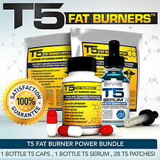 T5 FAT BURNERS POWER BUNDLE XT- STRONGEST SLIMMING / DIET PILLS +SERUM XT +PATCH