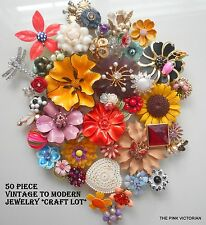 COLORFUL FUN (50)pc Vintage to MODERN jewelry CRAFT Repurpose BOUQUET LOT PK-1