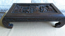 """Old Chinese Low  Wood Table, Kang Intricately Carved Scenes, Dark Hardwood-23""""L"""