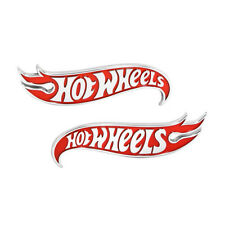 2x OEM Hot Wheels Fender Emblems for Mustang Camaro Chery Jeep Chevrolet Red