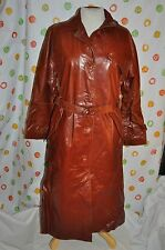 vintage BEGED OR BROWN LEATHER  Womens 12  long brown leather spy TRENCH  coat