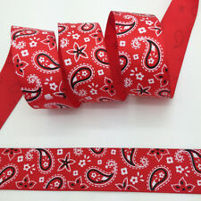 """100 yds 1"""" 25mm Red Printed Drop&Flowers Grosgrain Ribbon Hair Bow Sewing #A15"""