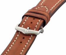 Hirsch LIBERTY Artisan Leather Contrast Stitch Watch Band Strap Gold Brown 24mm