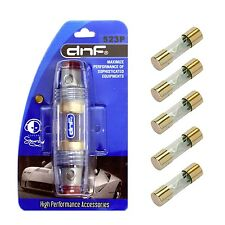 DNF PREMIUM IN-LINE 4/8 GAUGE AGU FUSE HOLDER + 5 PACK 80 AMP GOLD AGU FUSES