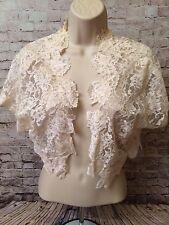 Vintage Ivory Lace Short Sleeve Cropped Formal Bolero Shrug Jacket Top Blouse