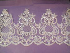 Light Ivory Embroidered sequins lace trim Bridal Wedding tulle Veil trim PerYard
