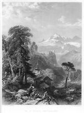 St. Niklaus, Wallis, Schweiz, Original-Stahlstich von ca. 1870
