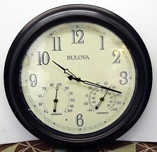 "BULOVA INDOOR/OUTDOOR AGED BRONZE FINISH WALL CLOCK 17.75"" DIAMETER C4318"
