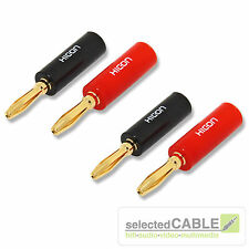 HICON Connectors HI-BM01 BLK RED 4,2mm Bananenstecker, echtvergoldet 4er Set