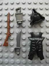 Custom PIRATE CAPTAIN Accessory Pack for Lego Minifigures (Black or Brown)