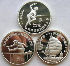 China 1988 Seoul Olympics Set of 3 Silver Coin,Proof