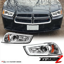 [FiBeR OpTiC] 2011-2014 Dodge Charger Chrome Halo DRL LED Projector Head Lights