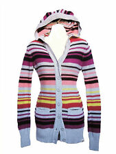 BRAND NEW ROXY WOMENS HOODED SWEATER HOODIE CARDIGAN KNIT COTTON TOP JACKET XS
