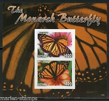 GUYANA THE MONARCH BUTTERFLY SOUVENIR SHEET I  IMPERFORATED MINT NH