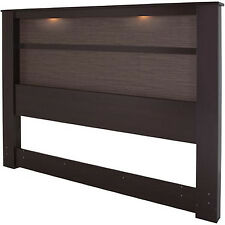 Brown Headboard With Lights King Size Modern Wood Bedroom Furniture Contemporary