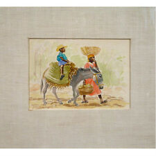 """Untitled (Man & Donkey) by Raoul Dupoux Watercolor Signed Framed 17 1/4""""x15 1/4"""""""