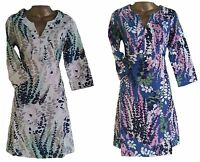 BODEN WOMENS SUMMER CASUAL BLUE & IVORY LINEN LUPIN PRINT TUNIC DRESS 8 - 10 R&L