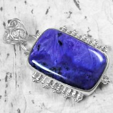 925 Sterling Pure Silver Natural Purple Pink Charoite Pendant Jewelry SVP1423 $