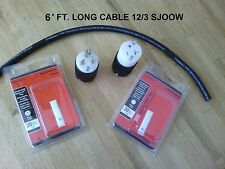 20 Amp Extension Cord DIY Kit: 6' Ft 12/3 SJOOW cable, T-blade Connector + Plug