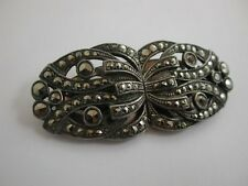 Fabulous French Genuine Art Deco Double Clip 1930s Brooch Signed dress clips