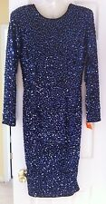 *NWT*  Vintage OLEG CASSINI Black/Blue Full Sequin Dress Size 10