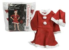 Girls Miss Santa Outfit Kids Childrens Dress Hat Outfit Fancy Dress Xmas Costume