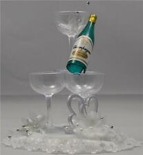 Silver Heart Wedding Spray Cake Topper Decoration With Champagne Glasses