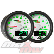 52mm White MaxTow Double Vision 60psi Diesel Boost + 1500 EGT Pyrometer Gauges