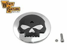 Chrome w/Black Skull Breather Cover Air Cleaner Trim 1999-later Harley Davidson