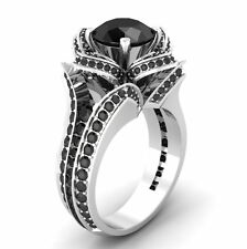 3.20ct Round Black Diamond Flower Lotus Engagement Ring in 14Kt White Gold