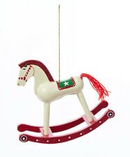 KURT S. ADLER HAND PAINTED RED/WHITE WOODEN TOY ROCKING HORSE CHRISTMAS ORNAMENT