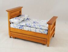 "Bed w/ Trundle dollhouse miniature furniture 1/12"" scale  T6200 oak finish"
