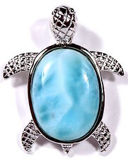 AAA Dominican Larimar Inlay 925 Sterling Silver Sea Turtle Pendant