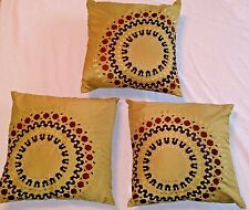"""Set PIER 1 IMPORTS Square THROW PILLOWS Green Brown Blue MOSSTONE Zippered 16"""""""