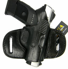 TAGUA BLACK LEATHER MINI THUMB BREAK OWB BELT HOLSTER - RUGER SR9C, SR40C