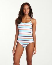 Tommy Bahama Rugby Low Back One Piece Swimsuit Multicolor Stripe Size 14