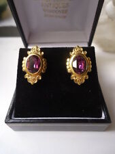 ANTIQUE 9ct GOLD AMETHYST 1.7mm STUNNING ORNATE STUD PIERCED EARRINGS IMMACULATE
