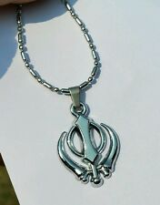 Beautiful UNISEX SMALL Stunning Steel Punjabi Sikh Khanda Pendant in Ball Chain