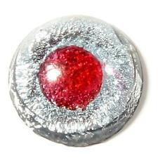 (1) 11mm Czech antique rare red eye silver foil lampworked round glass cabochon
