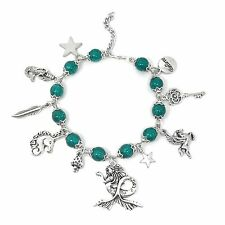 Ocean Green Mermaid Unicorn Pegasus Fantasy Themed Charm Bead Bracelet Xmas Gift