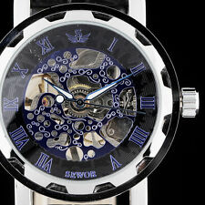 Steampunk Skeleton Luxury Men Mechanical Wrist Watch Leather Band Blue Face K2