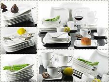 30PC Complete Dinner Set Square Curved Plates Cups Saucers Crockery Dining Set