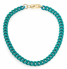 NEW Marc by Marc Jacobs Necklace Rubber over Metal Chain Turquoise