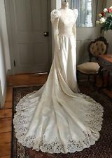 Vintage 1980s Ivory Satin And Re-embroidered Lace Wedding Dress