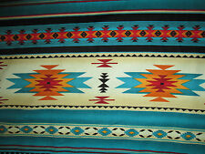 Navajo Native American Teal Gold Border Print Cotton Fabric FQ