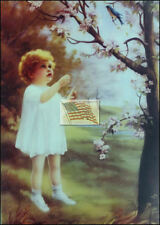 REPRINT PICTURE of older print BLUEBIRD GIRL STANDING UNDER TREE WATCHING 5x7