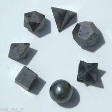 Hematite Sacred Geometry 7 Piece Set w/ Merkaba Star - Fast Shipping w/Track