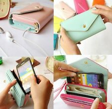 Mini universal multi wallet purse leather case for IPhone 4 5 6 Samsung S3 S4