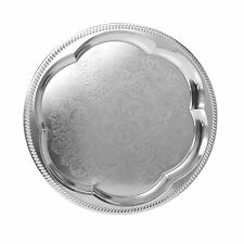 Round Silver Effect Serving Plate Dinner Tray Platter Mirror Polished Tableware