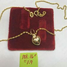 18k saudi gold heart necklace authentic gold 16 inches chain.